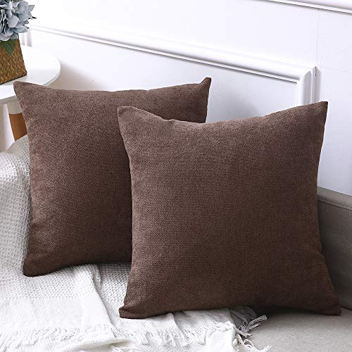 Madizz Set of 2 Chenille Velvet Suede Solid Decorative Square Throw Pillow Covers Set Cushion Case 18x18 inch Chocolate Brown ()