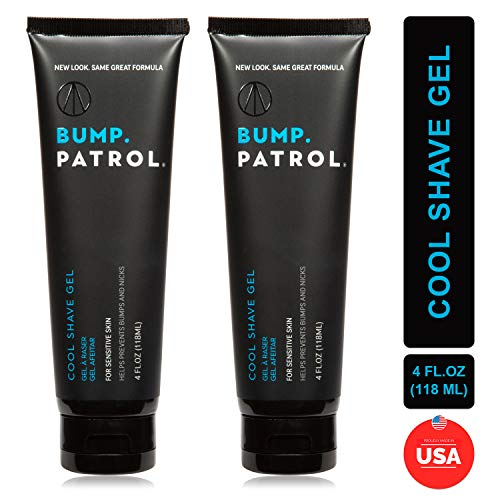 Bump Patrol Cool Shave Gel - Sensitive Clear Shaving Gel With Menthol Prevents Razor Burn, Bumps, Ingrown Hair - 4 Ounces 2 Pack