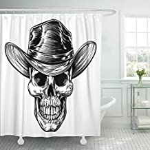 VaryHome Shower Curtain Black Country Skull Cowboy Drawing in Vintage Retro Woodcut Etched Engraved Style White Halloween Hat Waterproof Polyester Fabric 72 x 72 inches Set with Hooks