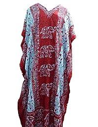 RiSi Women's Elephant Print Kaftan, V-Neck Kimono Long Caftan Dress