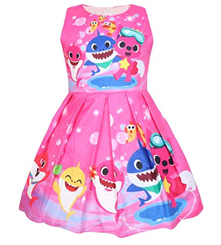 Coralup Toddler Girls Baby Shark Sleeveless Party Dress Summer Casual Dresses(18M-6Y) (2-3 Years(3T), Sleeveless-Rose2) ()