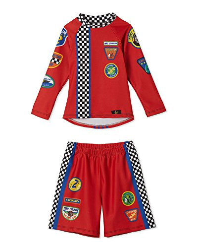 Little Boys Racecar Swim Trunks and Swimsuit Set – UPF 50 – Made in The USA 7/8