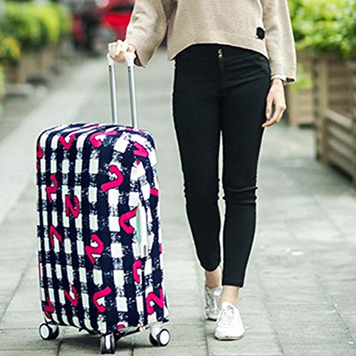 PBZYDU Luggage Cover, Anti-Scratch Dustproof Washable Travel Suitcase Cover Elastic Seersucker Print Protector(M-Number)