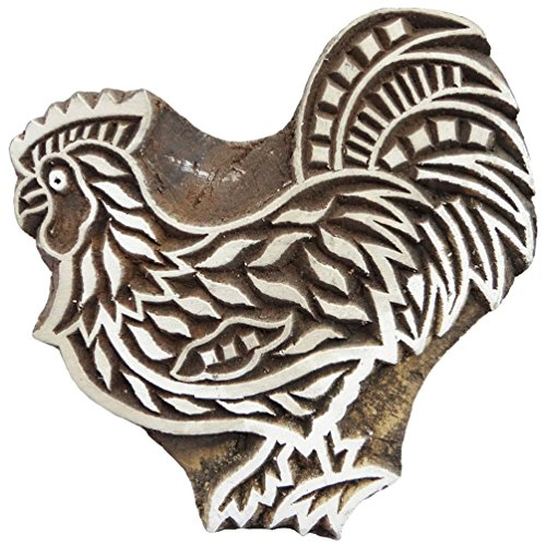 Traditional Wooden Stamp Rooster Design Fabric Printing Handmade Block India
