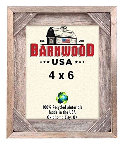 Barnwood Corner (BarnwoodUSA | Rustic Signature Corner Block Picture Frame | 100% Up-Cycled Reclaimed Wood (4x6))
