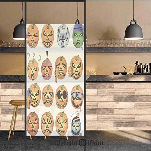 3D Decorative Privacy Window Films,Carved Pumpkin with Emoji Faces Halloween Humor Hipster Monsters Art,No-Glue Self Static Cling Glass Film for Home Bedroom Bathroom Kitchen Office 24x48 Inch