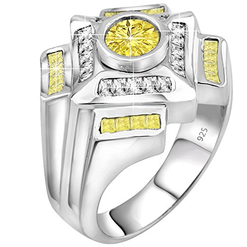 Century Crystal Twelve Light (Men's Sterling Silver .925 Designer Ring Featuring a 1.75 Carat White Cubic Zirconia (CZ) Center Stone Surrounded by 36 Clear and Light Canary Baguette (CZ) Stones, Platinum Plated Jewelry)