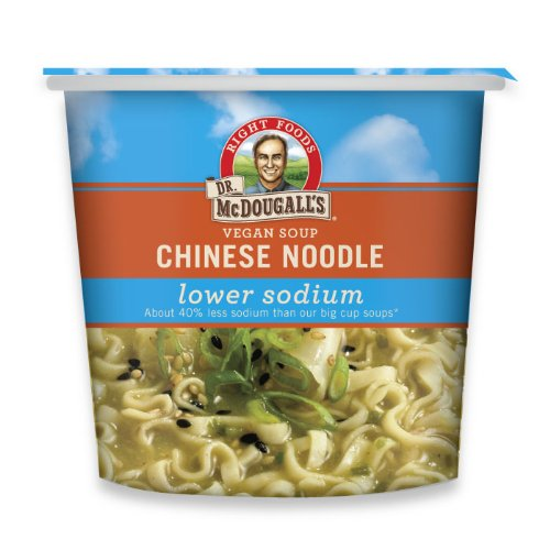 Dr. McDougall's Right Foods Vegan Chinese Noodle Soup,Lower Sodium, 1.4-Ounce Cups (Pack of 6)
