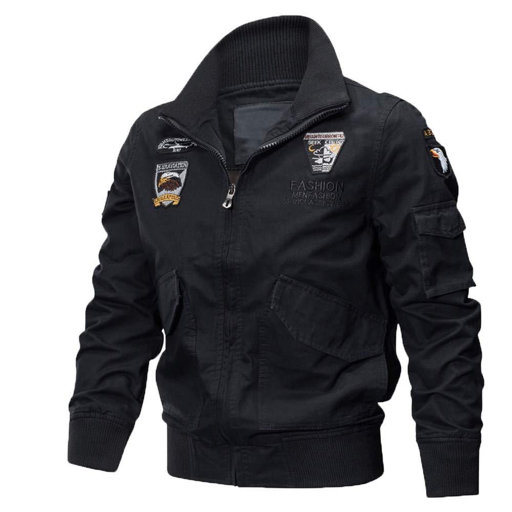Seaintheson Men's Jacket Tops,Casual Stand Long Sleeve Sweatshirt Autumn Winter Multi Pocket Zipper Coat Tops