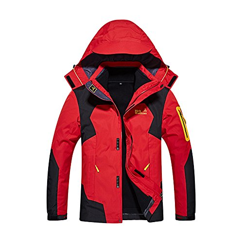 Windproof Snow Ski Jacket For Men Winter Snowboard Waterproof Rain Skiing Jackets For Adults Hooded 3-In-3 Breathable Outdoor Hiking Coat Water Resistant Mountain Fleece Outwear Red Large Size