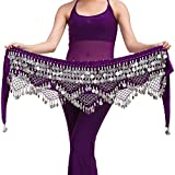 Wuchieal Women's Belly Dance Belt belly dance beginner Hip Scarf Warp skirt (One Size, Purple with Silver Coins)