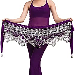 Belly Dancing Belt In Purple With Silver Coins