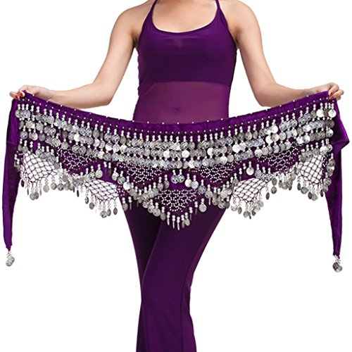 Wuchieal Women's Belly Dance Belt belly dance beginner Hip Scarf Warp skirt (One Size, Purple with Silver Coins) ()