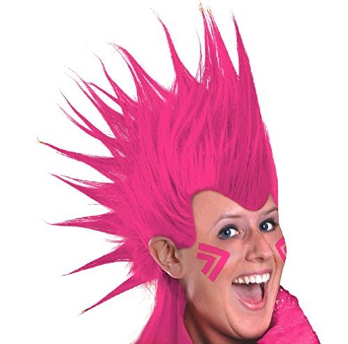 Amscan Party Perfect Team Spirit Crazy Mohawk Wig (1 Piece), Pink, 11.2 x 8.3