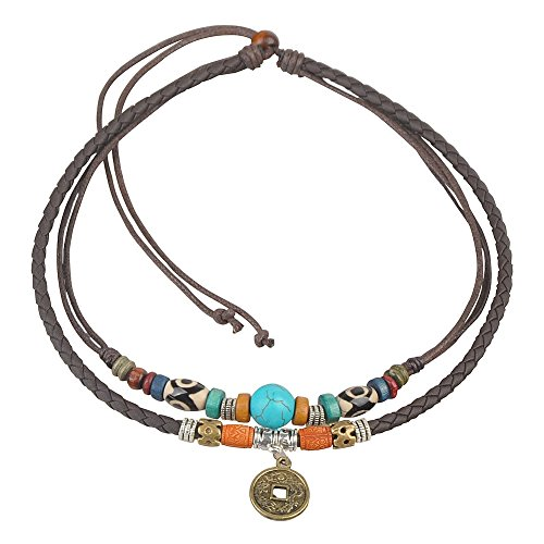 Thick Necklace Hemp (Ancient Tribe Unisex Adjustable Hemp Genuine Leather Necklace Turquoise Bead (Brown))