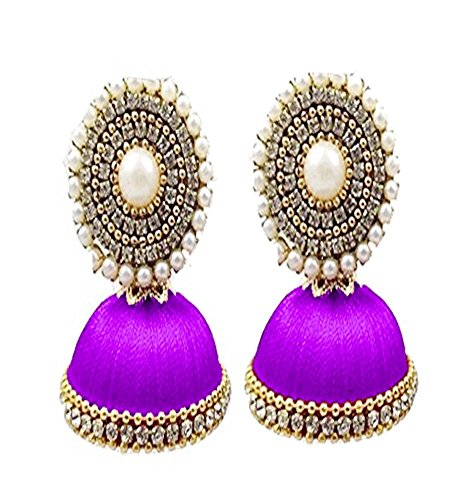 Stylish And Designer Trendy Stud Jhumki Set Stud Earring In Different Colors - Purple