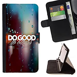 BullDog Case - FOR/Apple Iphone 6 / - / DO GOOD TO OTHERS /- Monedero de cuero de la PU Llevar cubierta de la caja con el ID Credit Card Slots Flip funda de cuer