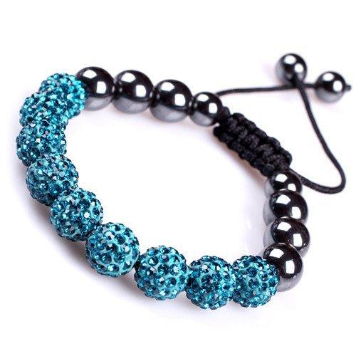 Sweet & Happy Girl'S Store Blue Pave Shine Swarovski Crystal Ball Beads W/ Hematite Beads Bracelet Adjustable