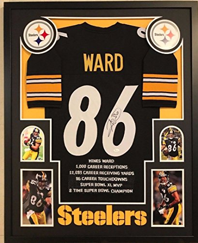 FRAMED HINES WARD AUTOGRAPHED SIGNED PITTSBURGH STEELERS STAT JERSEY JSA COA