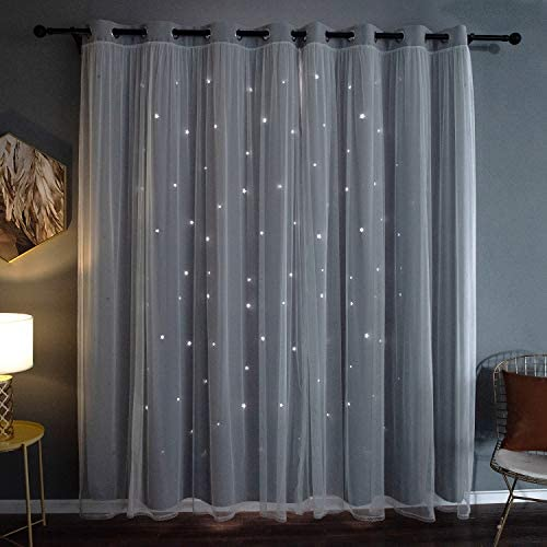 Kinryb 95″ Long Gradient Voile Overlay Star Cut-Out Curtain
