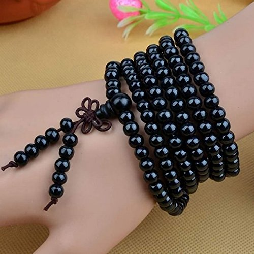 AUCH 1Pcs Womens Mens Unisex Buddhist Strand Bracelets Wood Buddha Meditation Prayer Beads 6mm216 Sandalwood Prayer Bead Necklace(Black)
