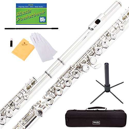 mendini-by-cecilio-silver-plated-closed-hole-c-flute-with-stand-1-year-warranty-case-cleaning-rod-cl