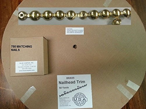 B.C. Upholstery Nailhead Trim with Matching Nails - Brass Gilt (Gold) - 150 ft (50 yds)