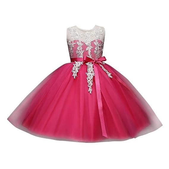 💜 Vestido de Fiesta de la Danza de Las Muchachas, Niños Kid Infant Girls Bordado Vestido Estampado Floral Sin Espalda Vestido Princesa Tutu Absolute: ...
