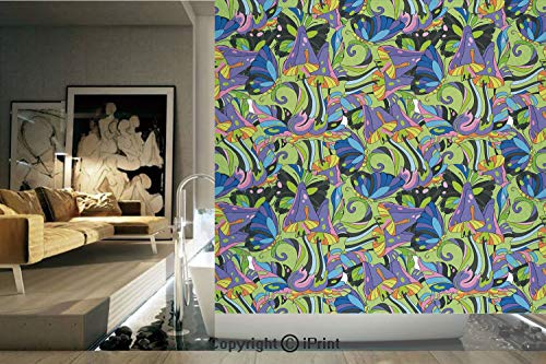 Decorative Privacy Window Film/Groovy Trippy Mixed Colors Toadstool Fungus Plants Natural Swirls Butterflies Decorative/No-Glue Self Static Cling for Home Bedroom Bathroom Kitchen Office Decor Multico ()