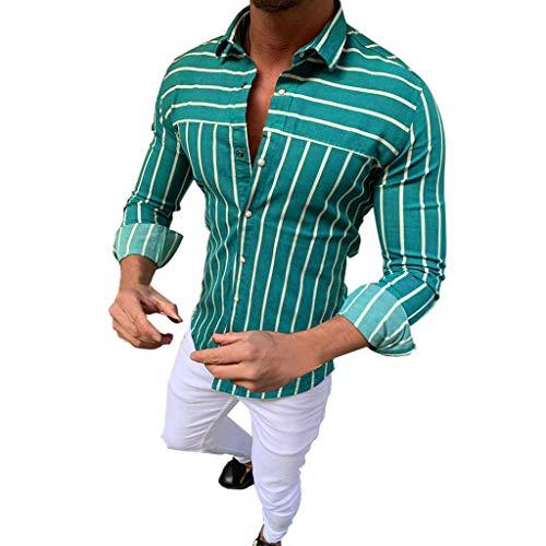 Bsjmlxg Standing Collar Stripe Shirts for Men,Summer Charming Fashion Baggy Retro Tops Beach Hawaiian Blouse Green (Charming Stripe Collar)