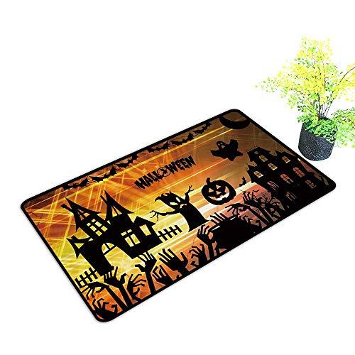 (gmnalahome Super Absorbs Mud Doormat Ultra high Definition Halloween No Odor Durable Anti-Slip W21 x H11)