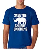 AW Fashions Save The Chubby Unicorn - Funny Quote Tees Hipster Men's T-Shirt (Small, Royal Blue)