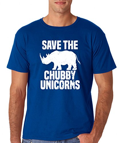 AW Fashions Save The Chubby Unicorn - Funny Quote Tees Hipster Men's T-Shirt (X-Large, Royal Blue) ()
