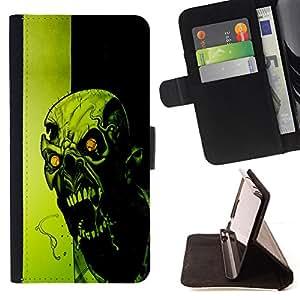 BullDog Case - FOR/Samsung Galaxy S6 / - / Crazy Evil Zombie /- Monedero de cuero de la PU Llevar cubierta de la caja con el ID Credit Card Slots Flip funda de cuer