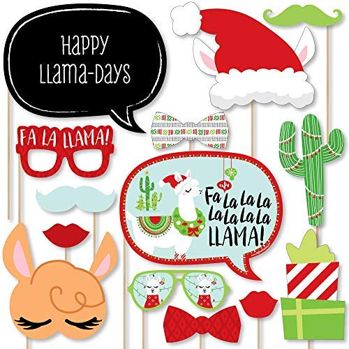 (Big Dot of Happiness FA La Llama - Christmas and Holiday Party Photo Booth Props Kit - 20)