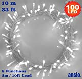 Fairy Lights 100 LED Bright White Christmas Tree Lights Indoor String Lights 8 Functions 10m/33ft Lit Length with 3m/10ft Lead Wire Mains Operated Fairy Lights - Ideal for Christmas Tree, Festive, Wedding/Birthday Party Decorations LED String Lights - INDOOR Use Only