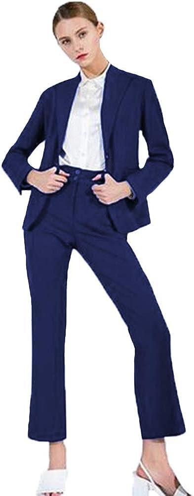 O.D.W Damen Zweiteiliger Slim Fit Blazer Anzug Rock Business Formales Hosenanzug