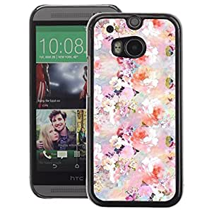 A-type Arte & diseño plástico duro Fundas Cover Cubre Hard Case Cover para HTC One M8 (Floral Pattern Flowers Spring White Pink)