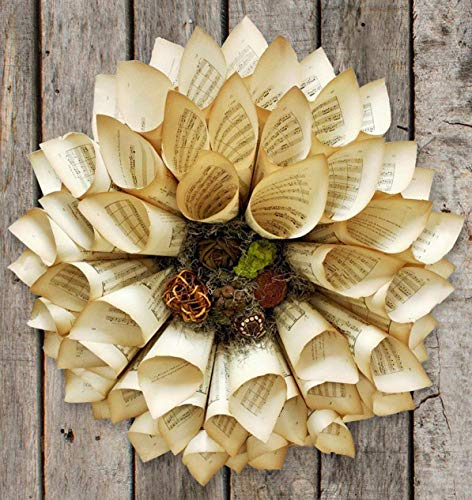 Antique Sheet Music Paper Wreath 18 inch Holiday Paper Wreath Medium size ()