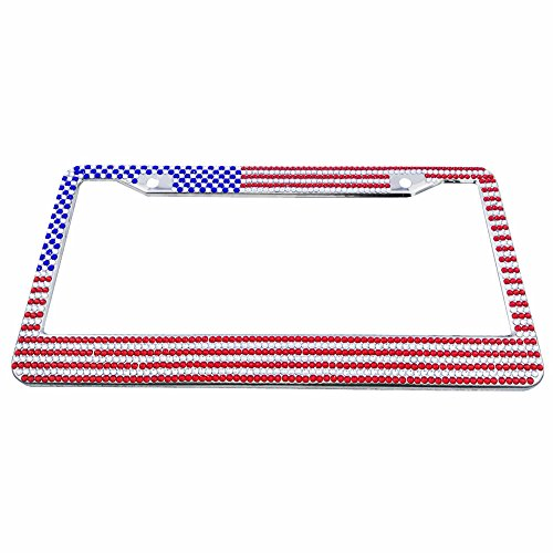 (WYQ Pure Handmade Bling Rhinestones Stainless Steel License Plate Frame of US Banner Style)
