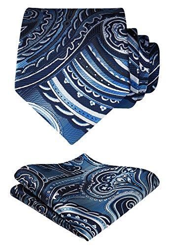 HISDERN Floral Paisley Wedding Tie Handkerchief Woven Classic Men's Necktie & Pocket Square Set Navy Blue & Gray