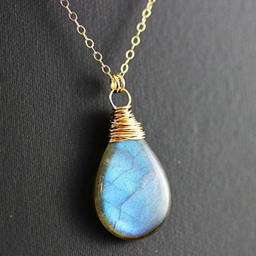 Labradorite Stone Gold Fill Wire Wrapped Pendant Necklace - 18