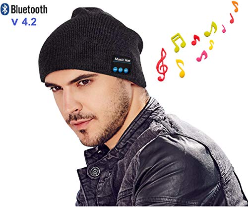 Winter Bluetooth Beanie Hat Unisex 4.2 Wireless Smart Musical Headphone Speaker Beanies Hands-Free Knit Cap Headset for Men Women Teen Boys Girl