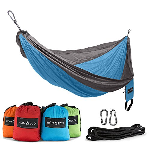 HŌMECO Double and Single Camping Hammock, Lightweight Nylon Parachute Travel Hammocks