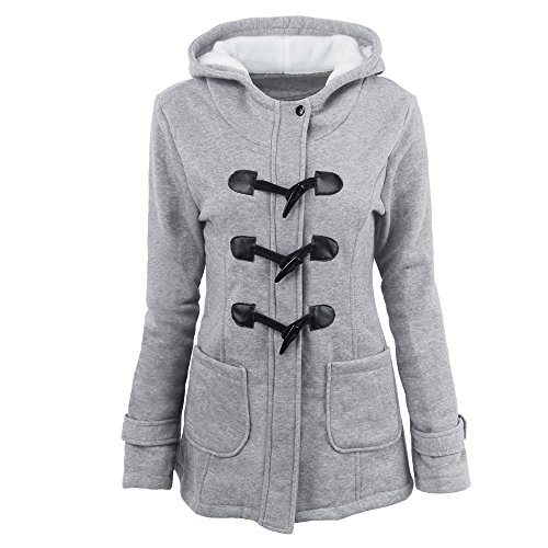 KINDOYO Women Winter Long-Sleeved Horns Buckle Thick Hooded Zip Duffle Coat Parka Jacket Outwear with Pocket Light Gray