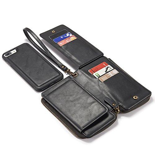 Samsung S8 Plus Wallet Case 6.2 inch, TechCode Zipper Card Slots Card Slots Money Pocket Clutch Cover Zipper Wallet Purse Case Retro Vintage Stand Smart Wallet Credit Card Slots Wallet Billfold Pouch Black