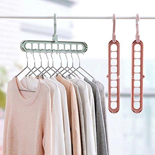 Vivona 9 Holes Hanger 360 Degrees Rotatable Hook Balcony Coat Hangers Plastic Wardrobe Storage Rack for Underwear Silk Scarf Tie - (Color: Pink)
