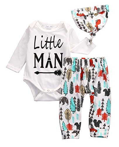 Newborn Baby Boys Girls Little Man Clothes Tops Romper Pants Hat Outfits (0-3 Months) (Male Halloween Outfits)