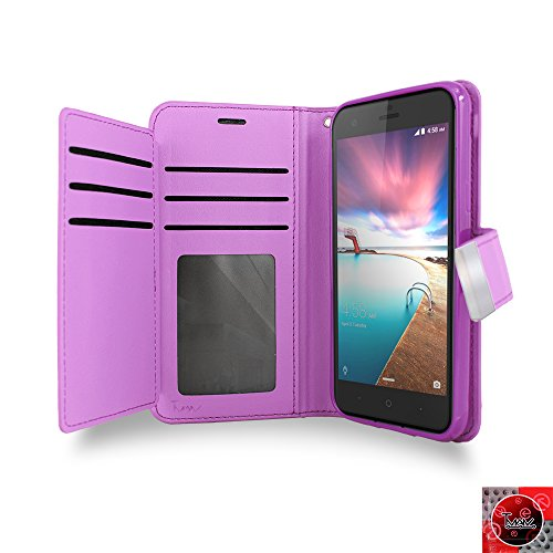 ZTE Blade Z Max Case, ZTE Blade ZMax Case, By [T MAN ] Leather [Double] Wallet Card Slots Cover Case For Metro Pcs ZTE Z Max /Z982 (Purple)