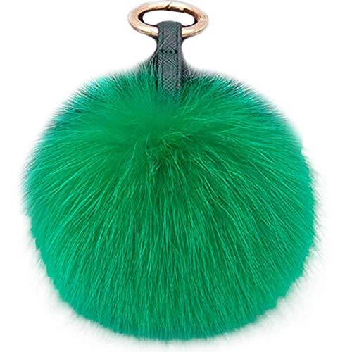 - Valpeak 5'' Fur Pom Pom Keychain Bag Charm Fur Ball Keychain Fox Fur Keychain (Grass)